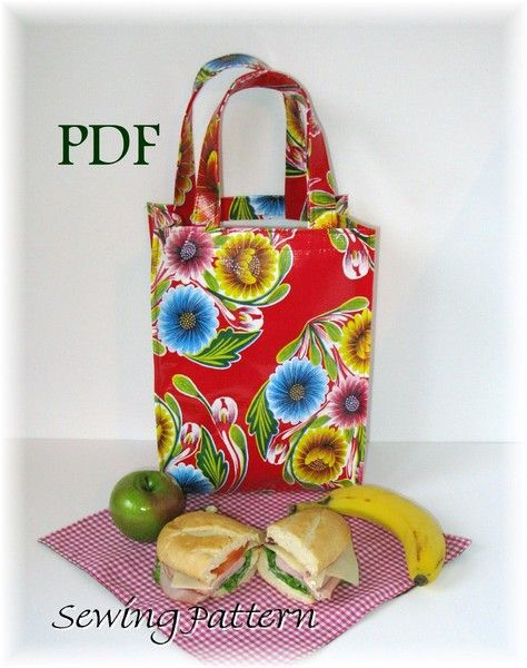 Oilcloth Lunch Tote Bag PDF SEWING PATTERN | toile ciree | Pinterest