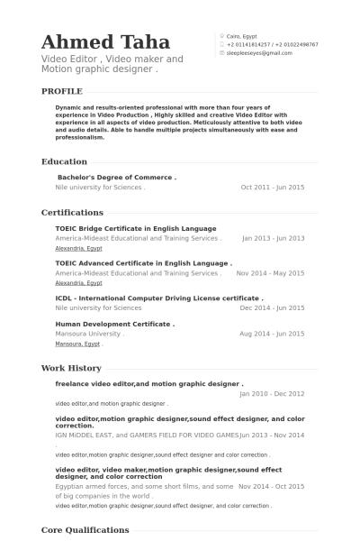Resume Format Video Editor Editor Format Resume Video