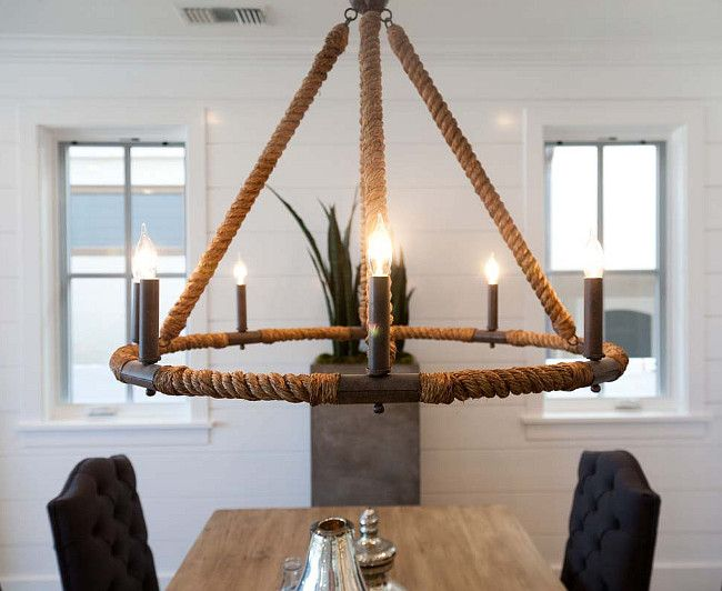 Beautiful Dining Room With Seafarer Nautical Beach Style Wrapped Rope 8 Light Chandelier