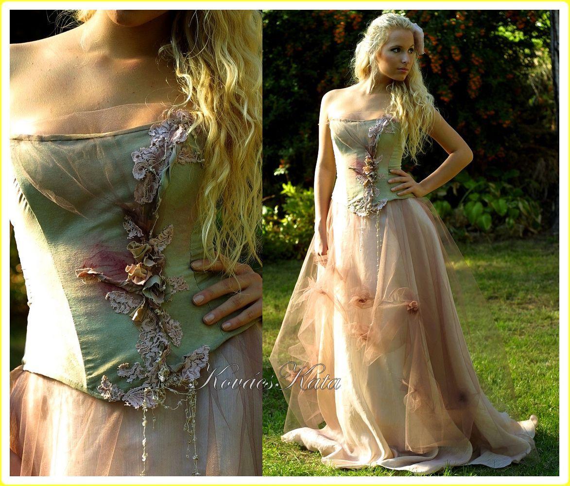 Magical Woodland Fairy Silk Fantasy Corset Wedding Gown OOAK - Lily ...