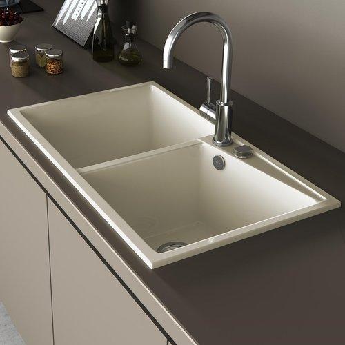 Belfry Kitchen Angelina 86cm X 51cm Double Bowl Inset Kitchen Sink