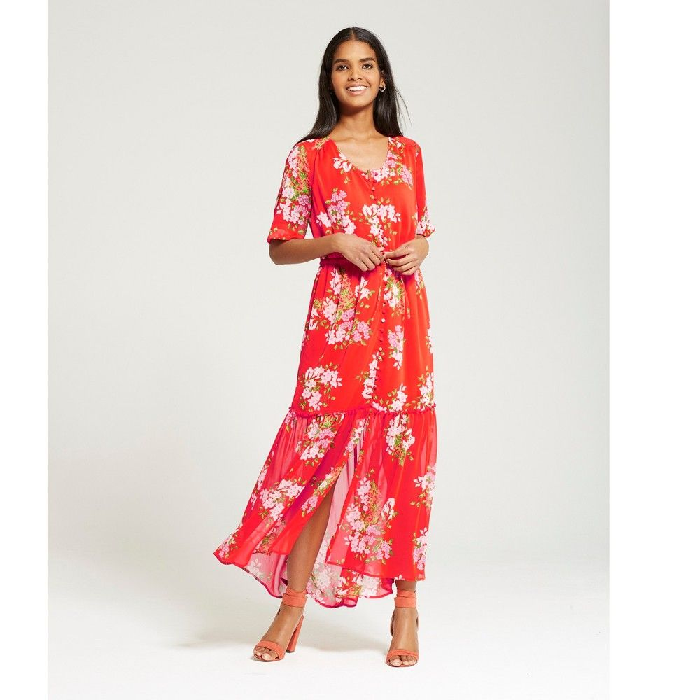 f25d1189c7d2 Women's Tiered Maxi Print Dress - Who What Wear Red Floral S | Products