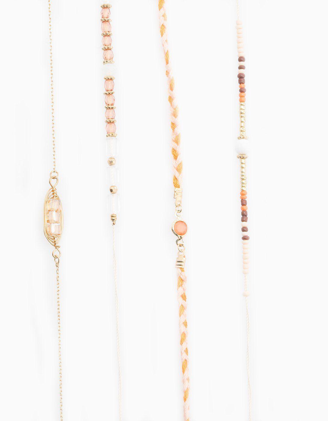 Set 4 chockers metal y beads