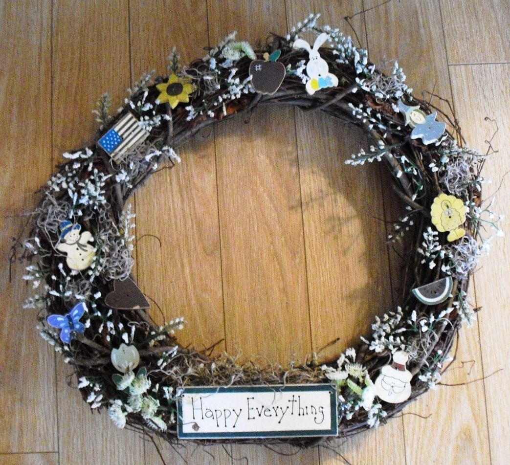 happy everything grapevine wreath wooden decorations with spanish