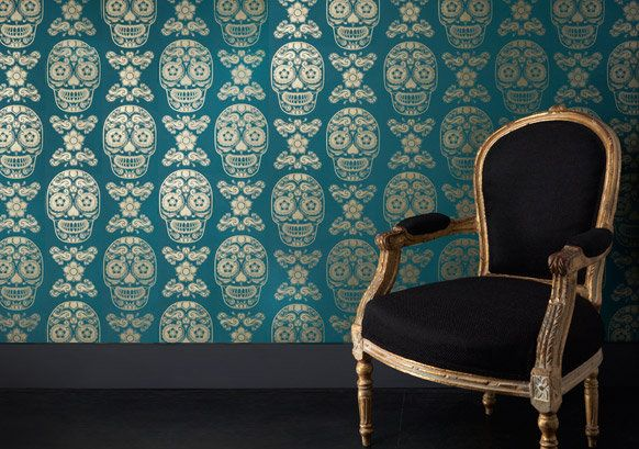 Anatomy Boutique Bespoke Day of the Dead Sugar Skull Wallpaper - Home