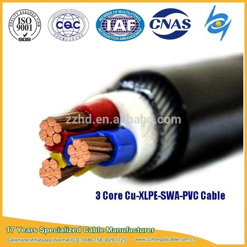 0 6 1kv 3 Phase 25mm Armoured Cable For Underground Cable Pvc Recognition