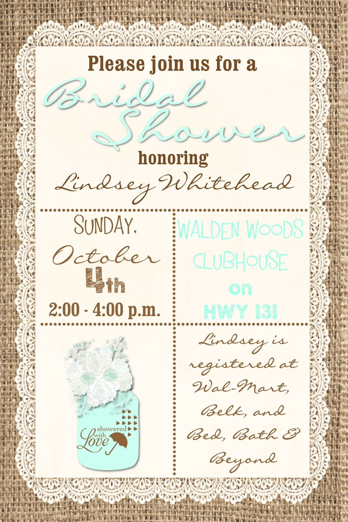 rustic burlap bridal shower invitation in mint and brown size 4x6