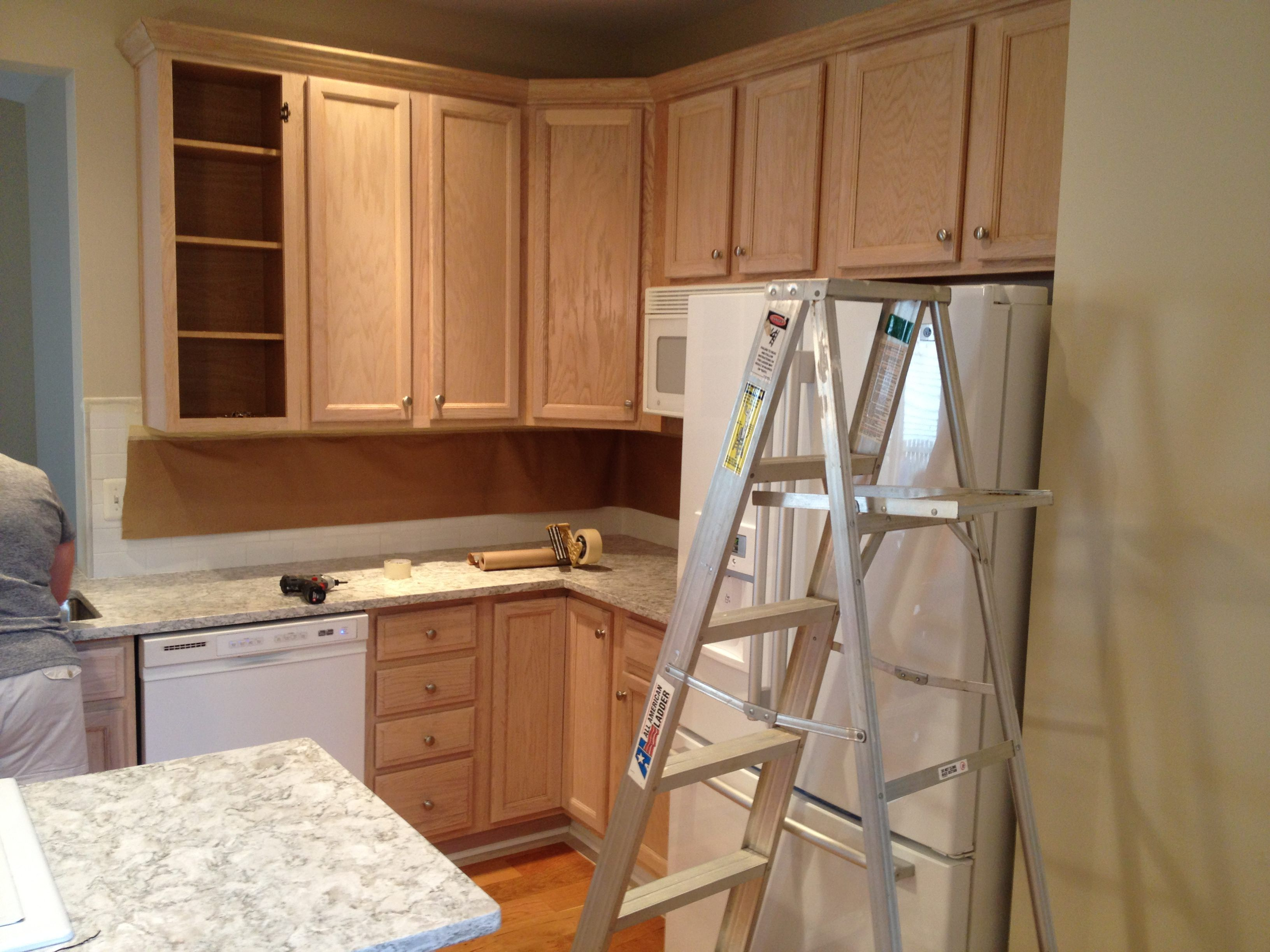 Image Result For Golden Oak Cabinets Bleaching Farmhouse Sink Kitchen Tall Kitchen Cabinets Kitchen Base Cabinets