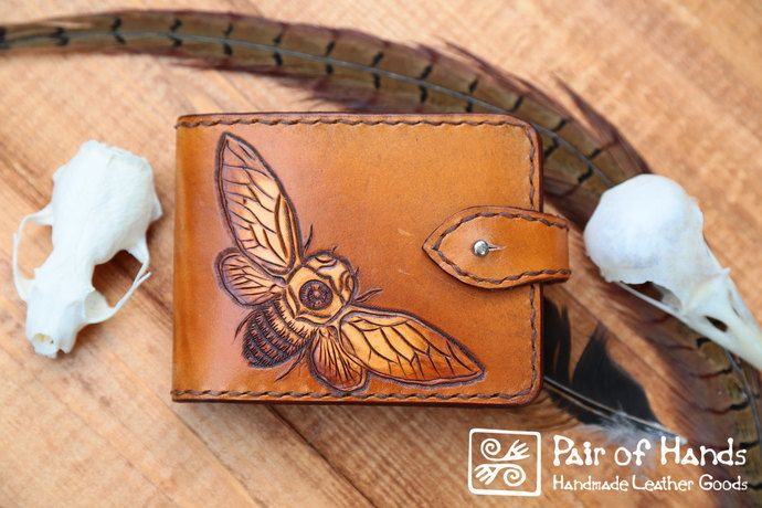 leather wallet cicada tan/ tooling leather/ handmade by pairofhands, $70.00 USD