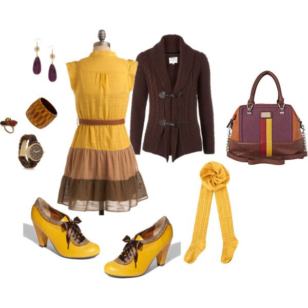 Mustard with brown and touches of plum and brick.  Why not?! The shoes are just cute enough to make up for the odd bag.