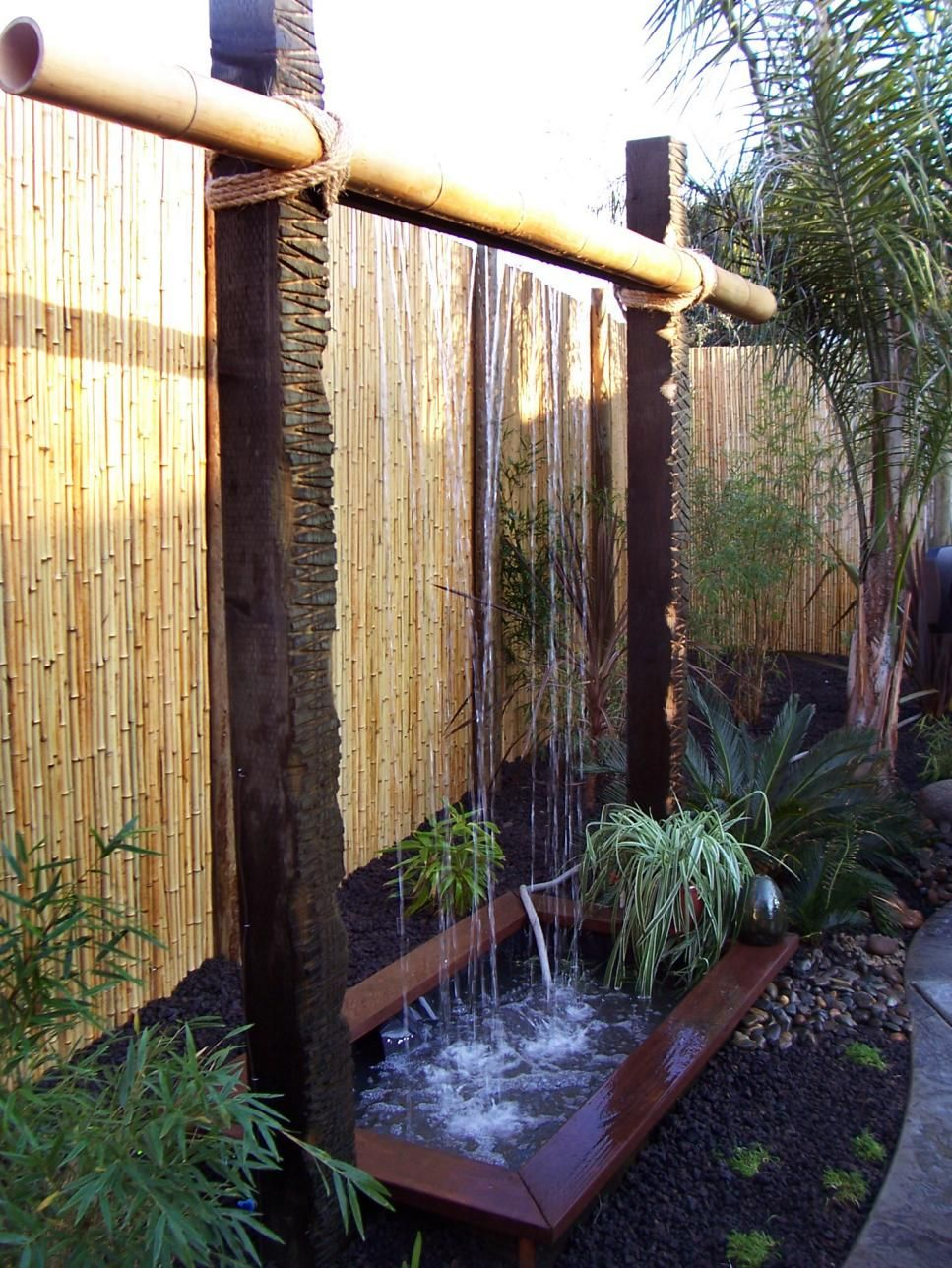 outdoor water features cabana backyard and water features