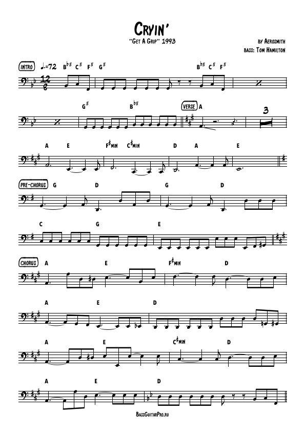 Download full bass transcription sheet music of Cryin\' by Aerosmith ...