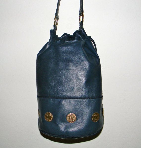 Vintage navy blue leather bucket bag Adrienne by FeliceSereno, $35.00