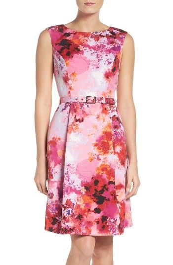 Adrianna Papell Belted Fit Amp Flare Dress Regular Amp Petite