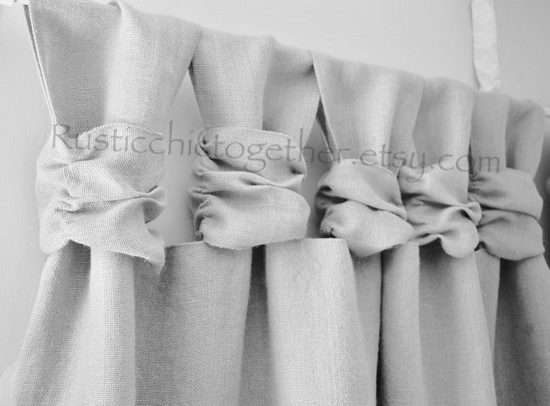 Burlap Curtain Ash Gray Burlap Wide Ruched Tabs In 2020 With Images Burlap Curtains Drop Cloth Curtains Simple Curtains