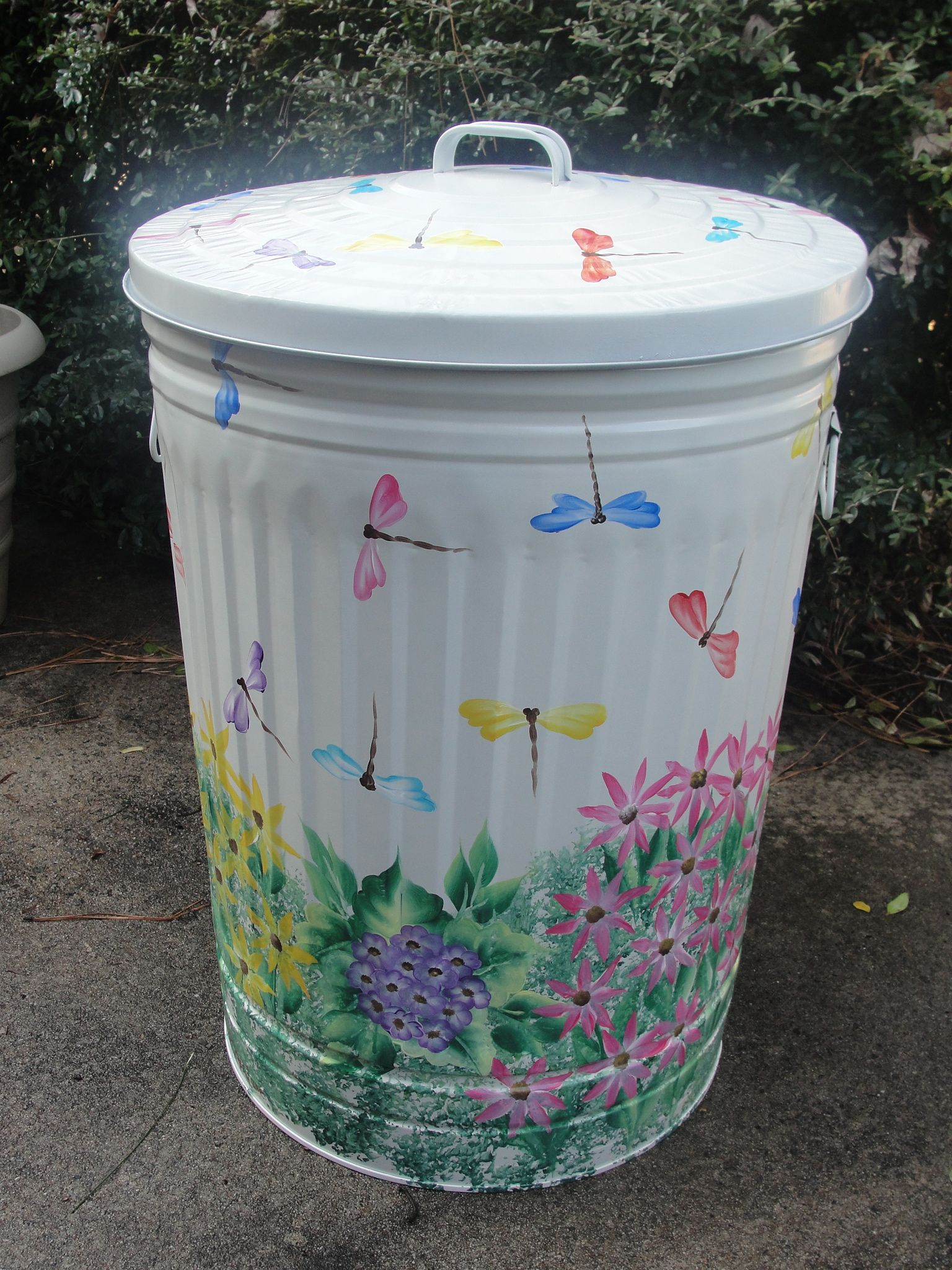 Painted Dragonfly Metal Trash Can - 10, 20, & 30 Gallon - Free ...