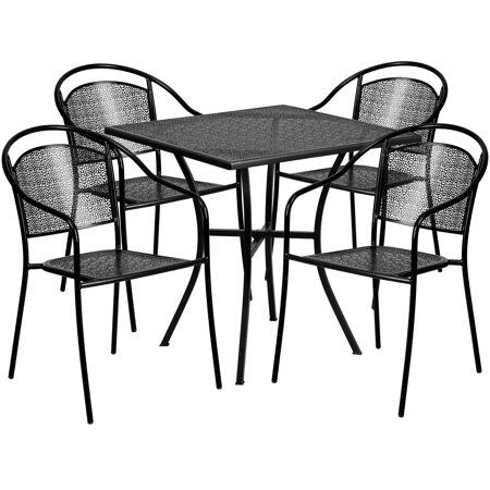 Flash Furniture 28 Square Black Indoor Outdoor Steel Patio Table