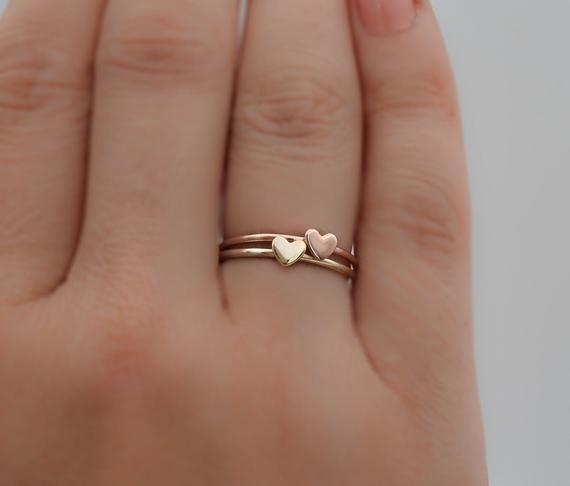 14k Solid Gold Heart Love Ring Minimal Dainty Mini