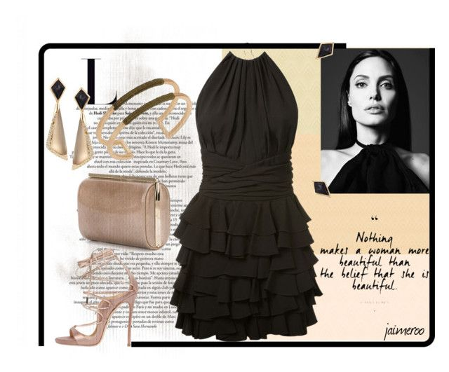 """Rose Gold/Black Ruffles"" by jaimeroo ❤ liked on Polyvore featuring Jimmy Choo, Dsquared2, Design Lab, Alexis Bittar and Balmain"