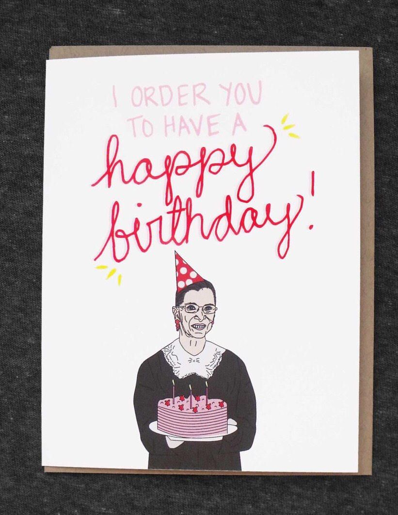 Ruth Bader Ginsburg Birthday Card RBG Greeting Feminist Lawyer