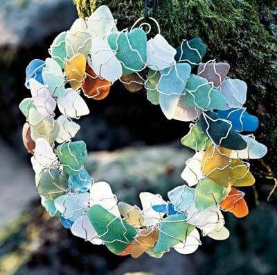 """Sea glass wreath.call Jill about this"" find Jill.  ask if she'll make me one too.  ha, and stunning, 21"