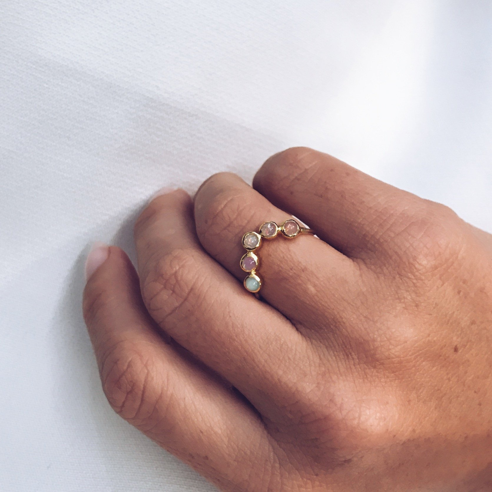Half Halo Opal Ring Halo opal ring