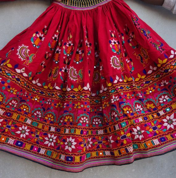 52f468c197 Vintage mirror work handmade skirt gypsy bohemian one of a kind more than  20 years older made of vintage cotton handmade made of cotton color Rust  size ...