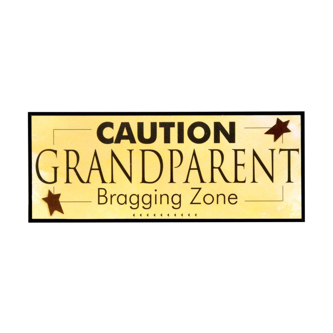 The Grandparent Gift Co. Caution Bragging Zone Decorative Wall ...