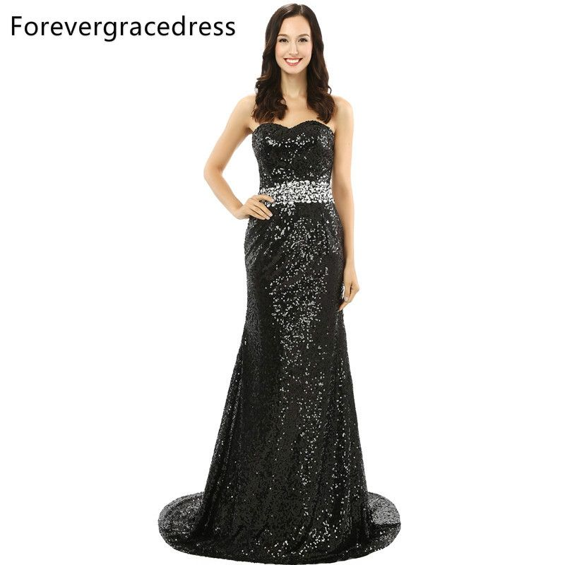 Forevergracedress Real Photo Black Sequins Evening Dress Wonderful Mermaid  Crystal Sleeveless Long Formal Party Dress Plus dcc6f564aead