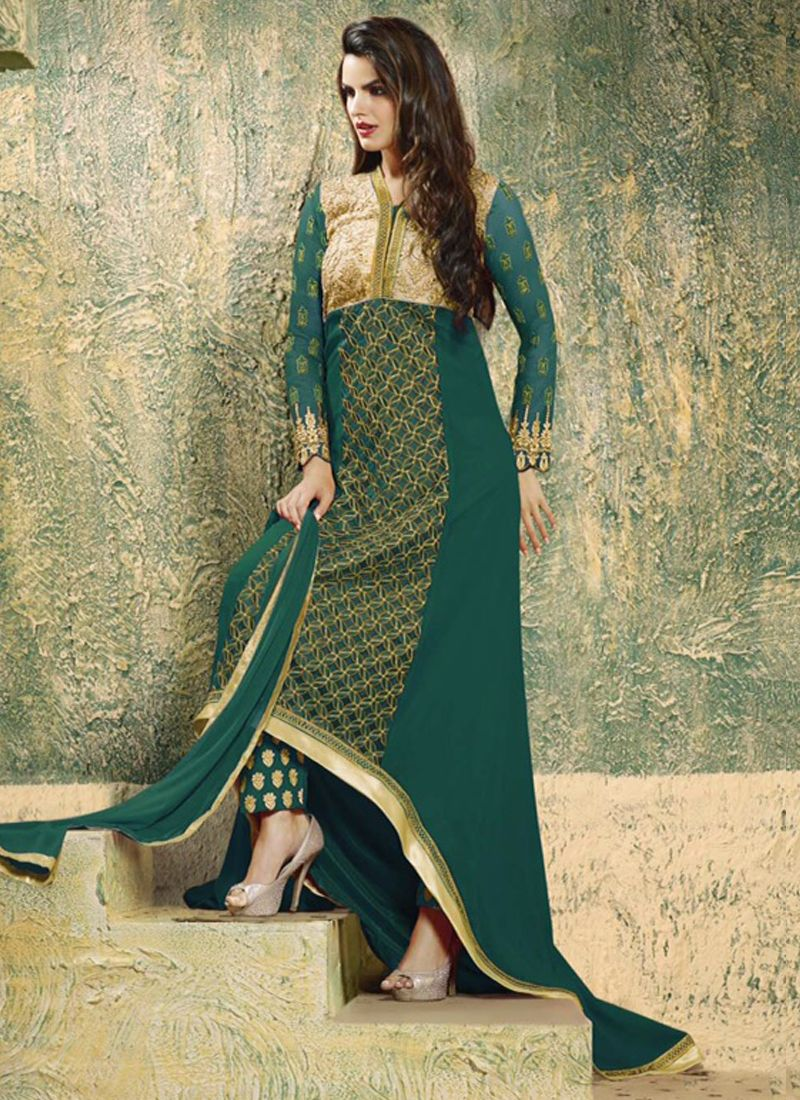 Sea green georgette anarkali suit email supportethnicoutfits