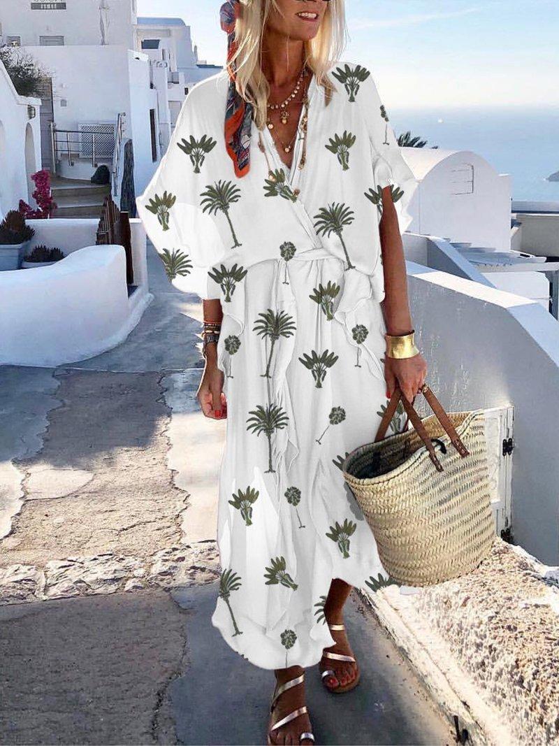 Bohemian Printed Colour Batwing Sleeve V Neck Belted Dress Cute Cruise Outfits Summer Vacation Dressesr Beach Dresses Vacation Weeke Modnye Stili Odezhda Boho [ 1067 x 800 Pixel ]