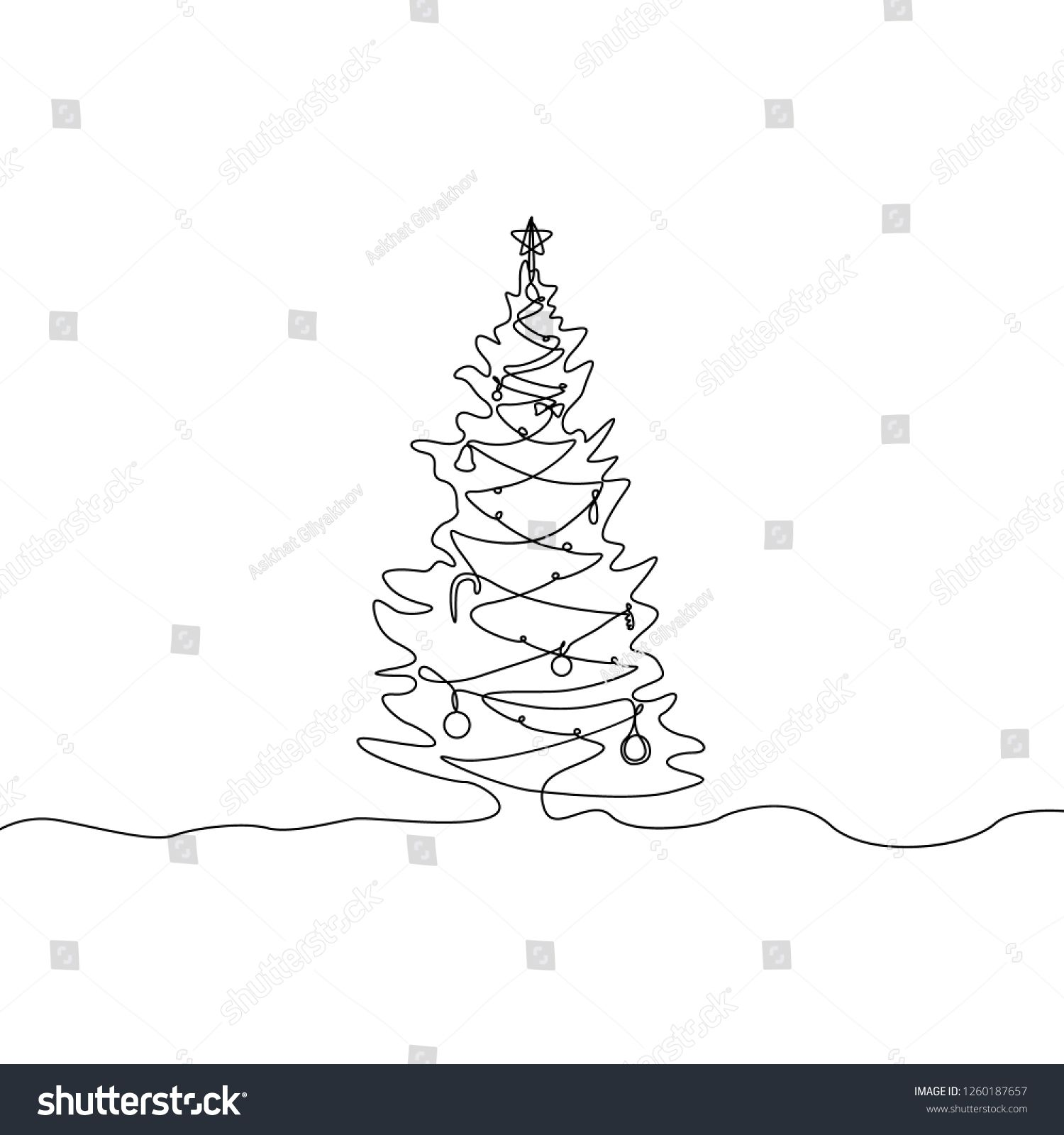 Continuous One Line Christmas Tree With Decorations Tree Line Drawing Christmas Tree Decorations Christmas Tree Clipart