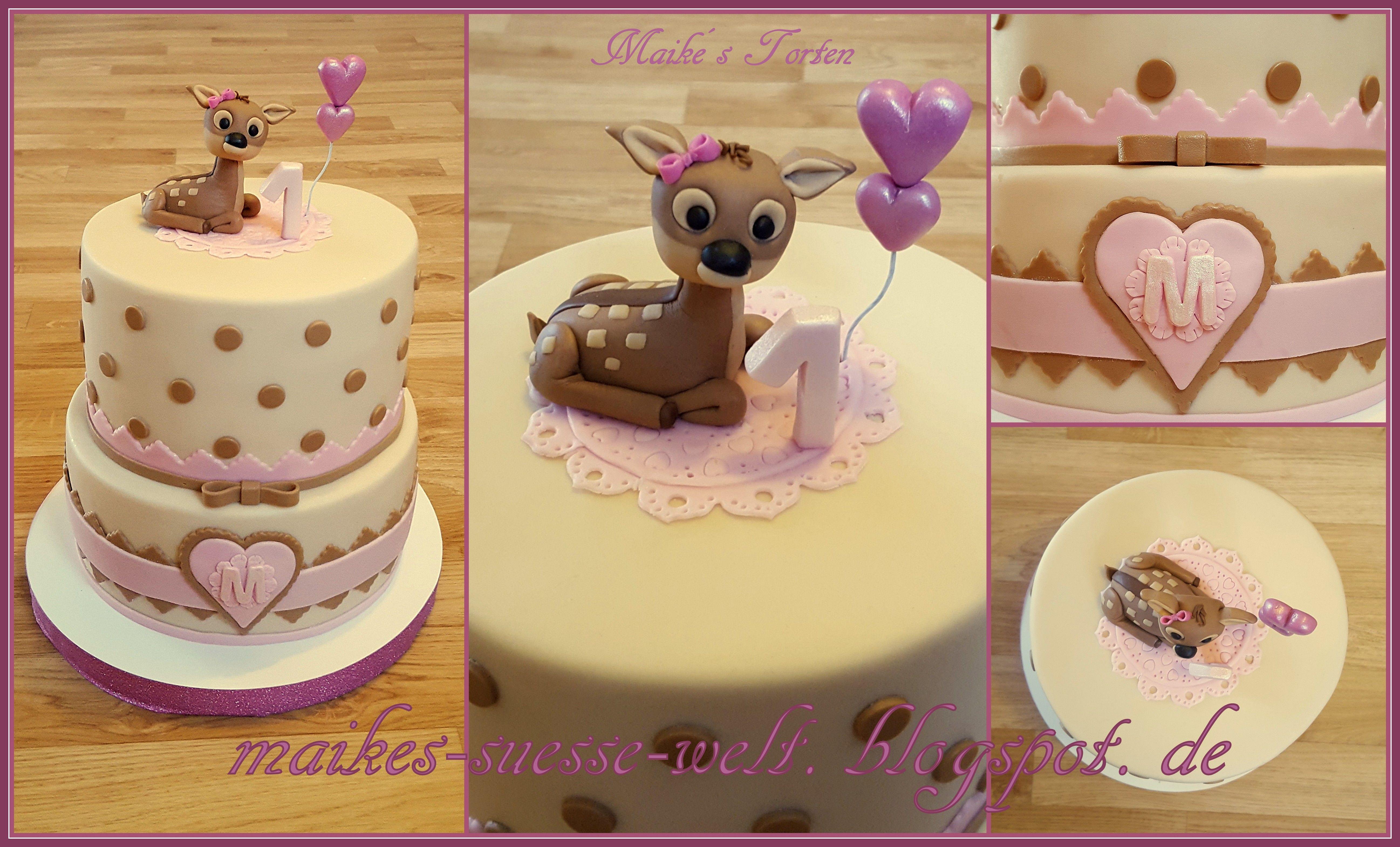 Birthday Cake Girl Fawn Dots Pink Rosa Beige Rehkidz