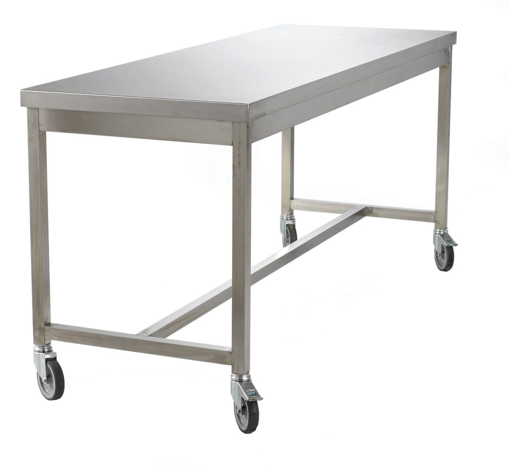 Restaurant stainless steel kitchen work prep table nsf chef shelf com - Work Table Rectangular On Casters Stainless Steel Sclessin Productions
