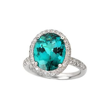 blue green tourmaline ring with diamonds collections