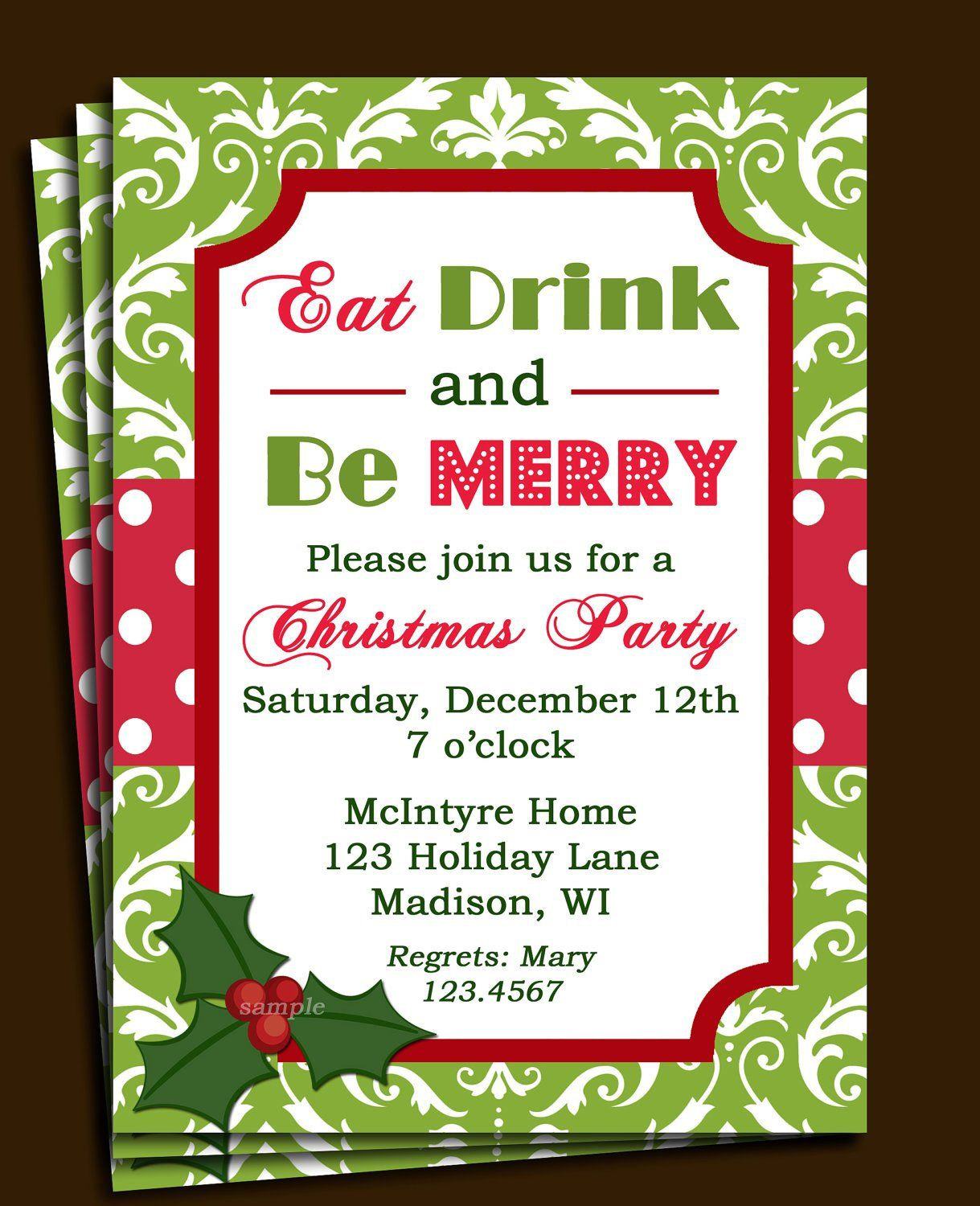 Invitation Letter Sample With Rsvp Christmas party