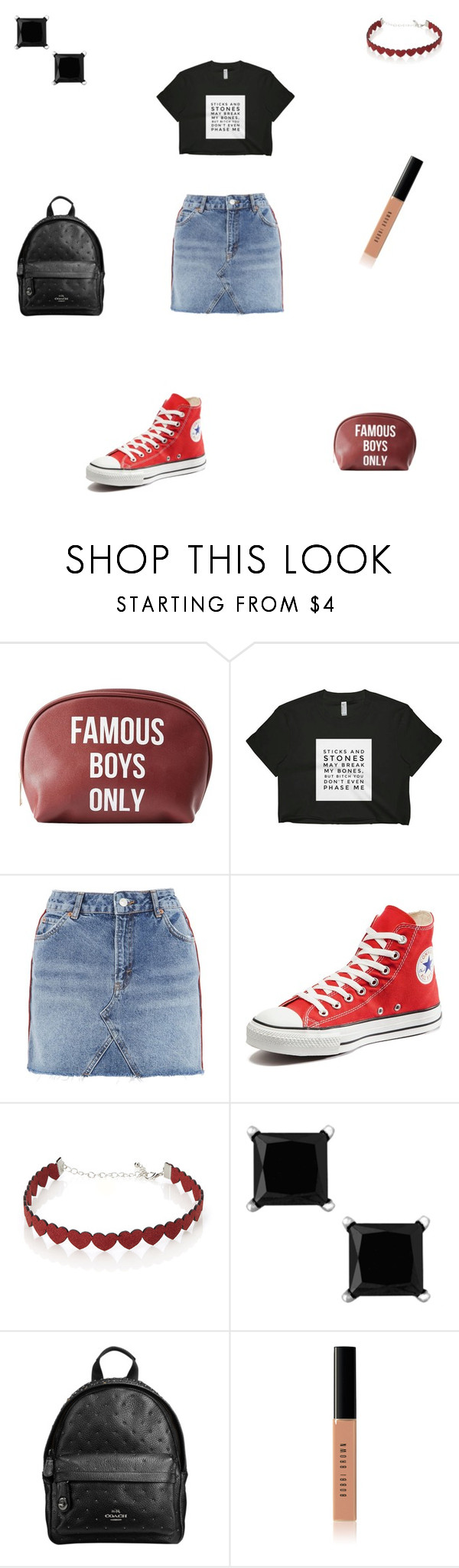 """""""Untitled #645"""" by maddieisurs ❤ liked on Polyvore featuring Charlotte Russe, Topshop, Converse, Simons, Coach and Bobbi Brown Cosmetics"""