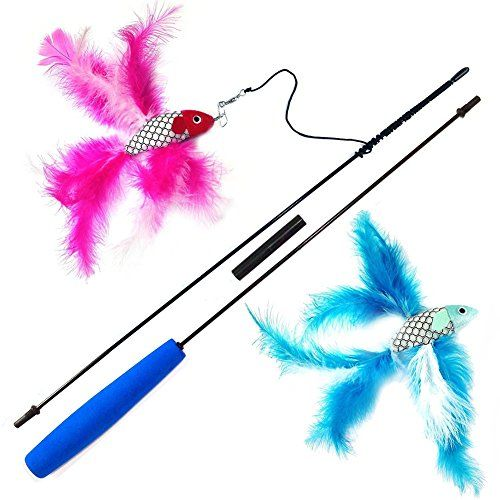 Hestio Fish And Feather Teaser Stick Playing Chasing Toys Interactive Cat Wand Click On The Image For Addit Pet Cat Toys Best Interactive Cat Toys Cat Toys