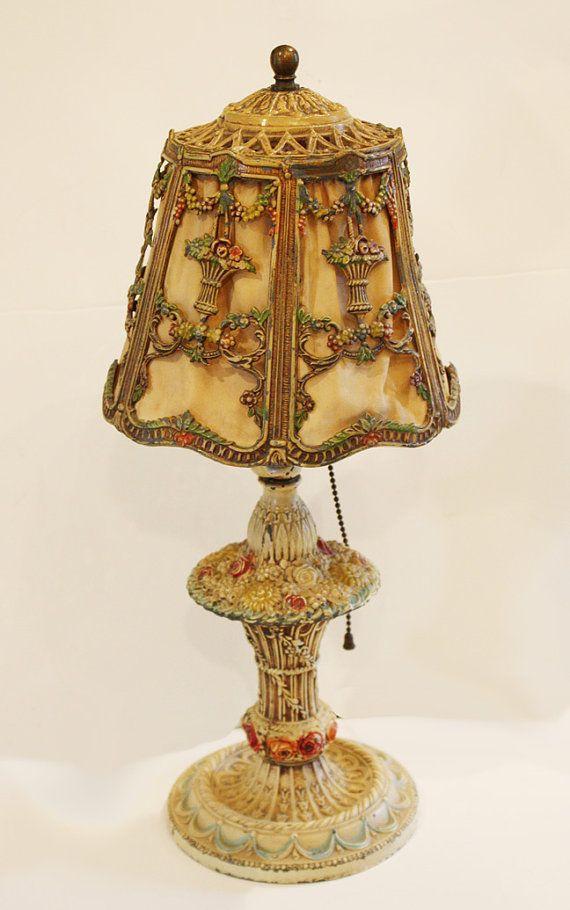 Barbola Lamp U0026 Shade Antique Lamps Flowers Ribbon Swags Paris France Europe  Lamp