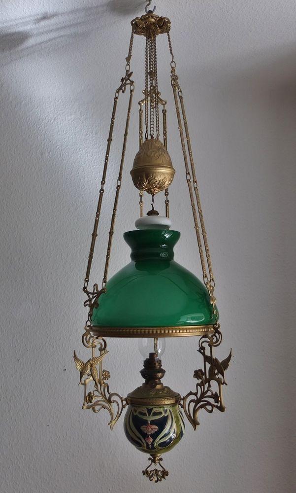 antik Petroleumlampe Jugendstil Majolika um 1900