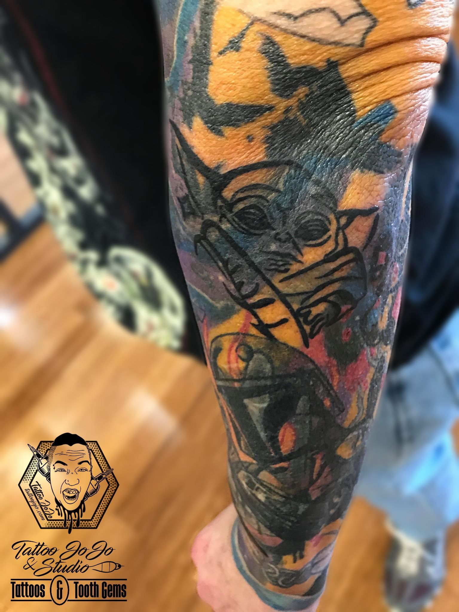 Added cute lil Yoda to this blastover sleeve! tattoojojo