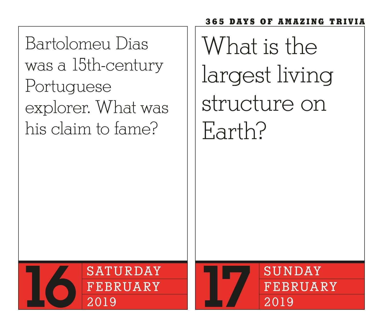 image about Page a Day Calendar named 365 Times of Remarkable Trivia! Website page-A-Working day Calendar 2019