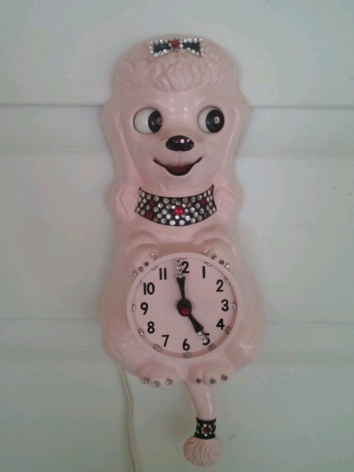 VINTAGE 60's FRENCH POODLE KIT KAT  CLOCK WORKING ORIGINAL RARE PINK Video!