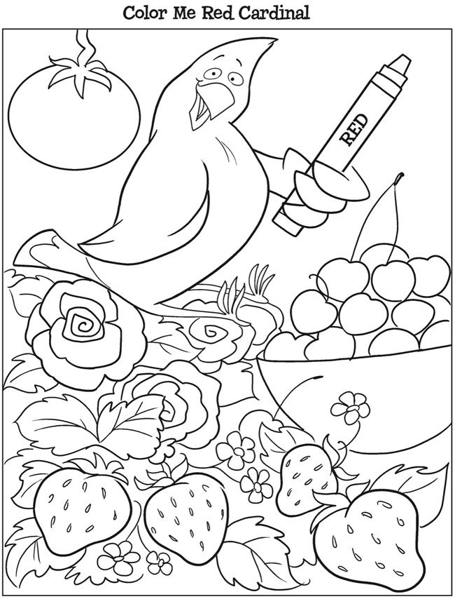 Dover Kooky Birds Coloring Page Red Cardinal