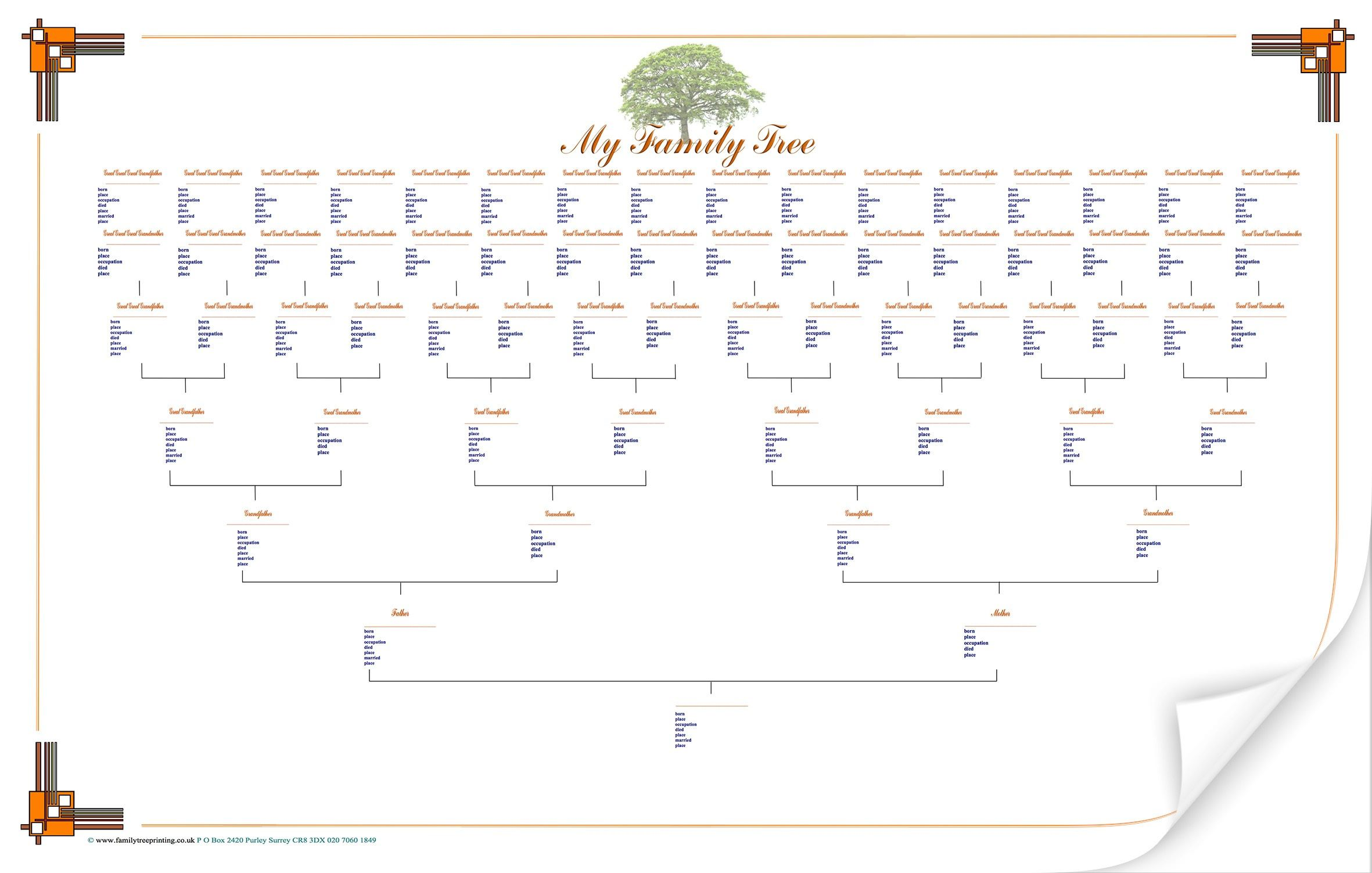 Large Blank Family Tree Chart Geneology Pinterest Blank Family