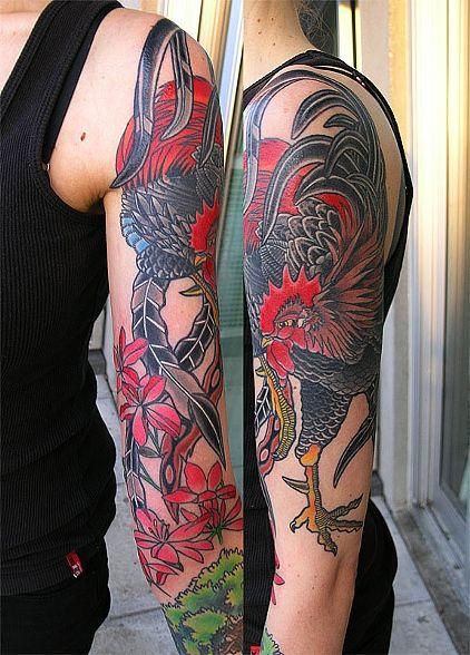 San Francisco Tattoo Artist Adam Sky Adriana S Rooster Tattoo Rooster Tattoo Tattoos Vintage Tattoo