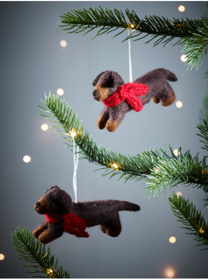 Felted Hanging Sausage Dog Dog Stuff Dog Christmas Ornaments