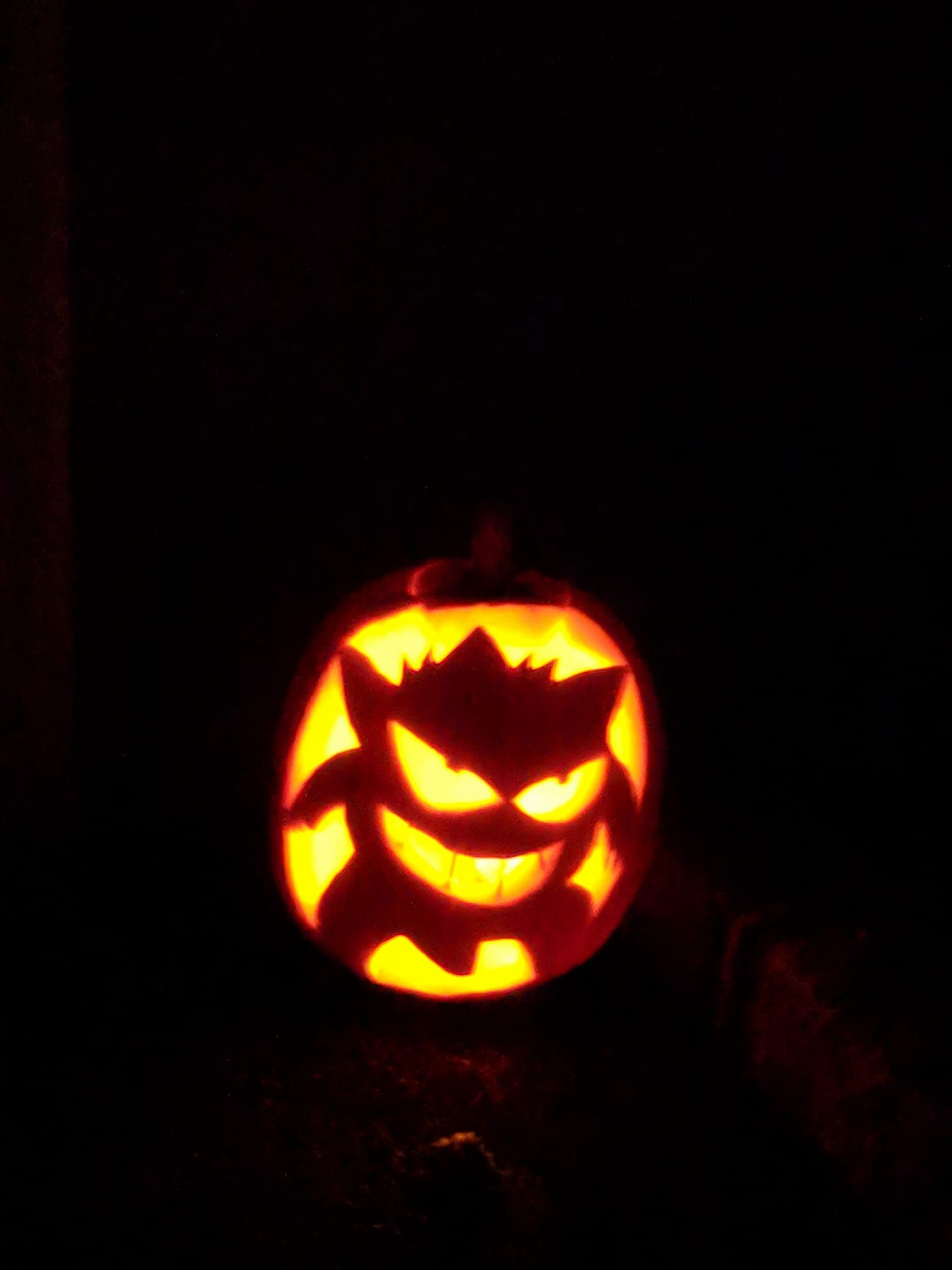my gengar pumpkin carving in honor of the halloween event gengar