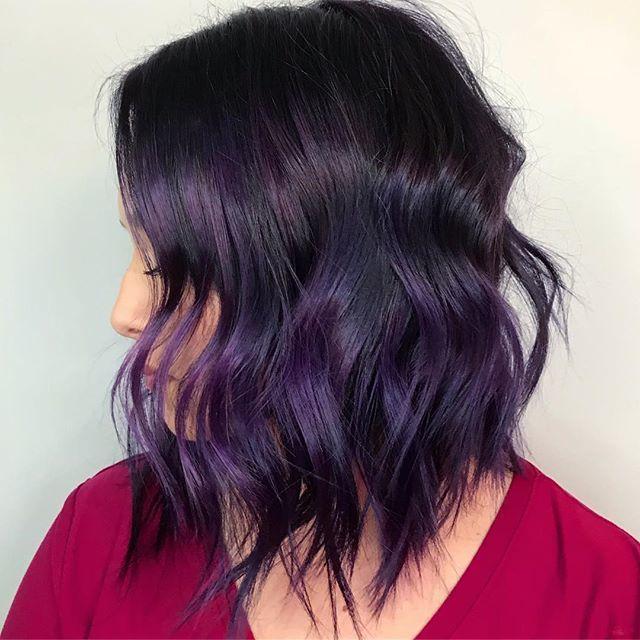 Subtle Purple Streaks On Dark Hair Dark Purple Hair Purple Hair Dark Ombre Hair