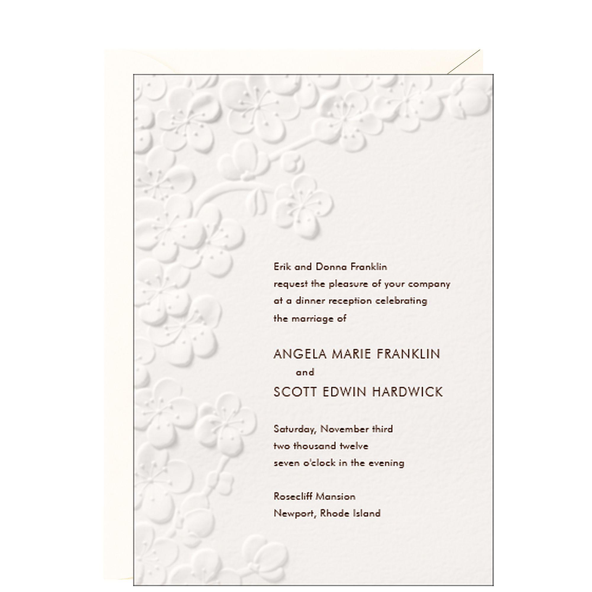 Cherry Blossom Embossed Wedding Invitation | Invitations ...